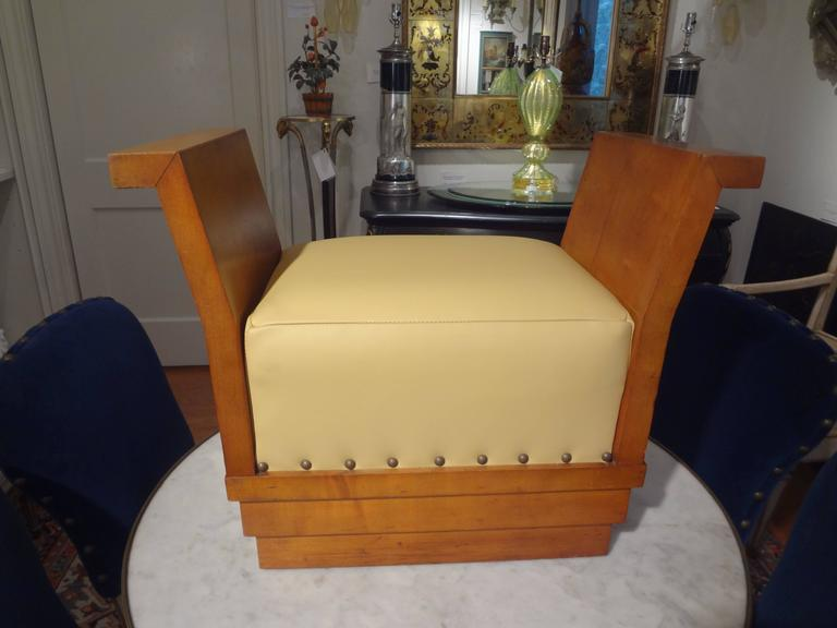 French Art Deco Geometric Ottoman Upholstered in Leather For Sale 1