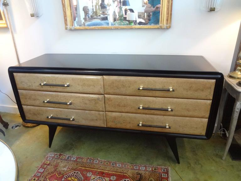 Italian Mid-Century Six-Drawer Credenza Inspired by Paolo Buffa For Sale 2