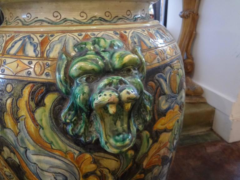 Large Italian Glazed Terra Cotta Urn with Horse Motif In Good Condition For Sale In Houston, TX