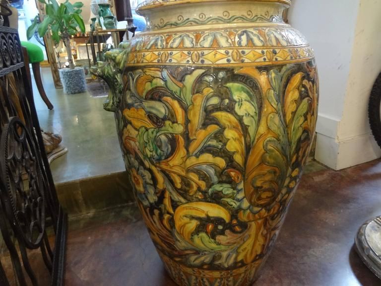 Classical Roman Large Italian Glazed Terra Cotta Urn with Horse Motif For Sale
