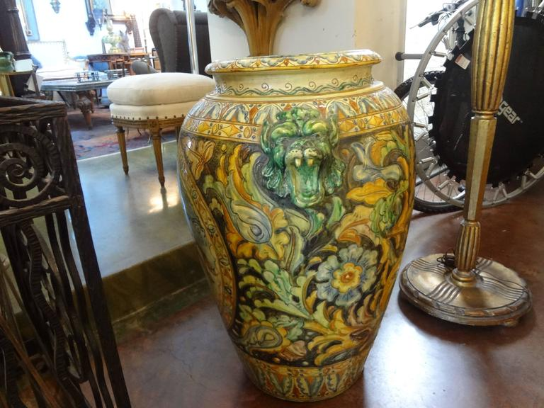 Large Italian Glazed Terra Cotta Urn with Horse Motif For Sale 1