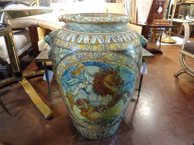 Large Italian Glazed Terra Cotta Urn with Horse Motif For Sale 4