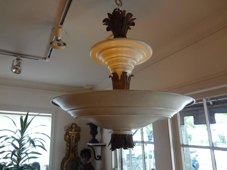 Early 20th Century French Art Deco Tole and Bronze Chandelier, circa 1925 For Sale