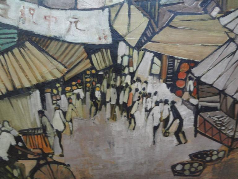 Beautifully executed midcentury Asian modern oil on canvas of a street scene, circa 1967. See photograph of artist signature.