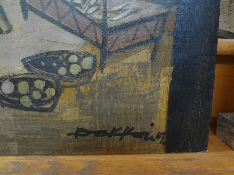 Midcentury Oil on Canvas, Artist Signed, circa 1967 In Good Condition For Sale In Houston, TX