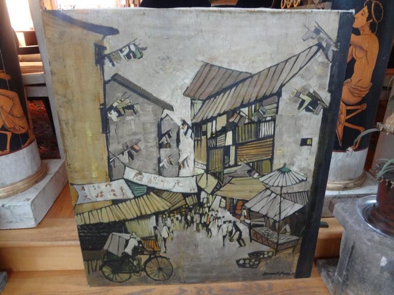 Mid-20th Century Midcentury Oil on Canvas, Artist Signed, circa 1967 For Sale