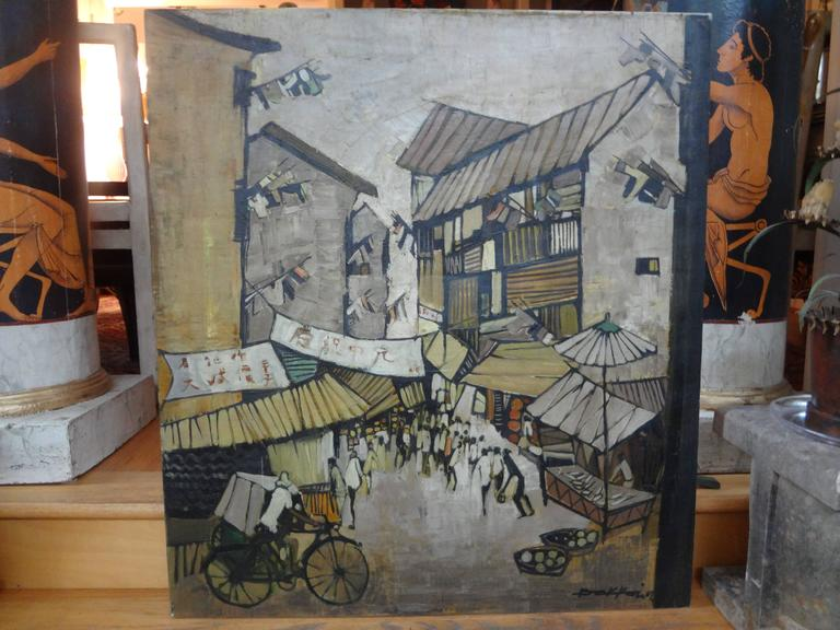 Midcentury Oil on Canvas, Artist Signed, circa 1967 For Sale 1