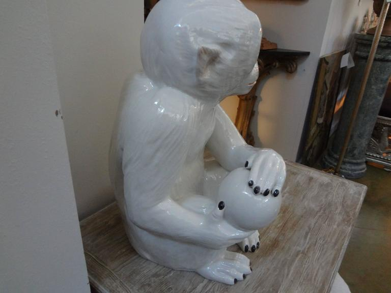 Vintage Italian Glazed Pottery Monkey Sculpture In Good Condition For Sale In Houston, TX