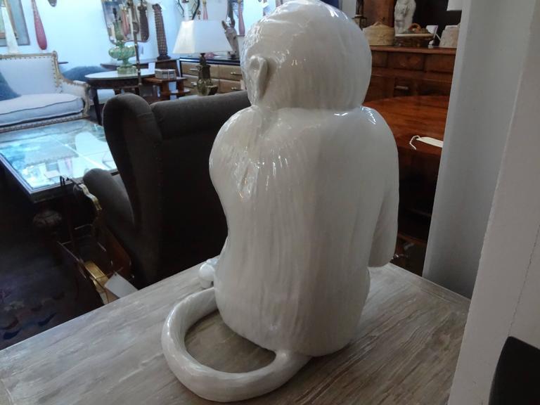 Vintage Italian Glazed Pottery Monkey Sculpture For Sale 2