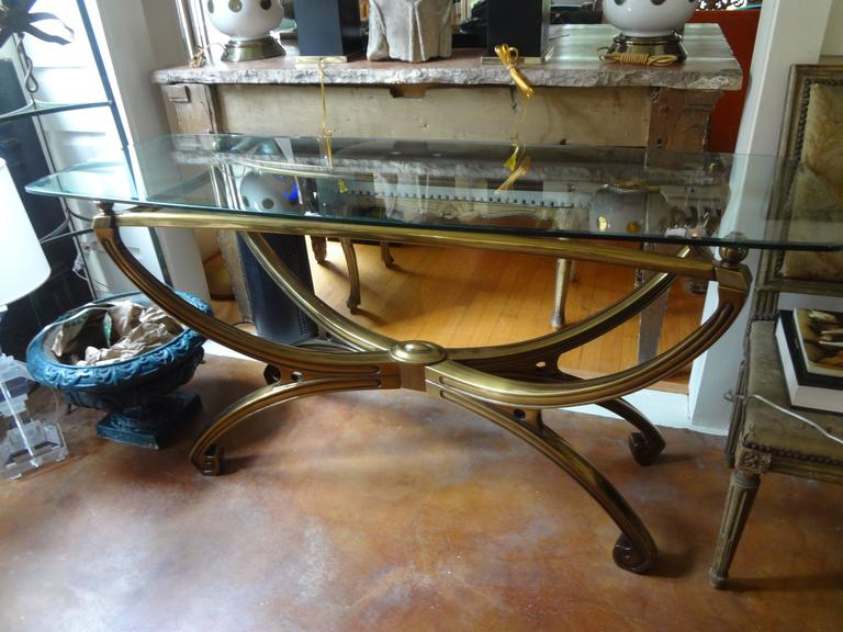 20th Century Italian Mid-Century Modern Brass Console Table with Greek Key Design For Sale
