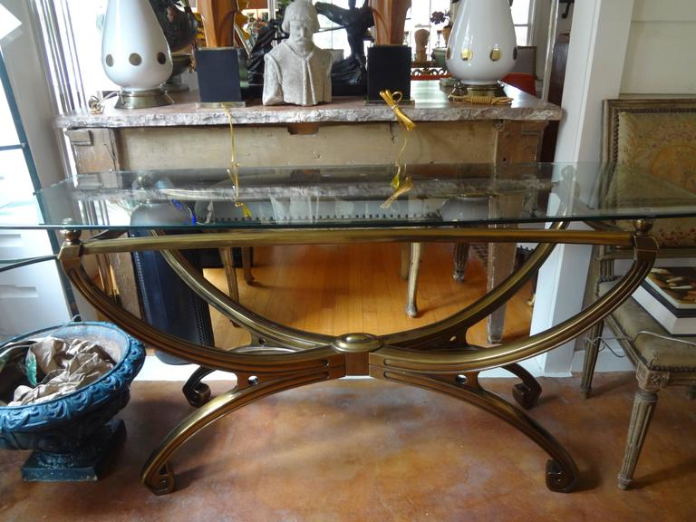 Italian Mid-Century Modern Brass Console Table with Greek Key Design For Sale 3