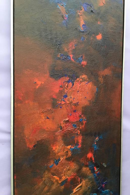 Contemporary painting in tones of red, orange blues and black. 