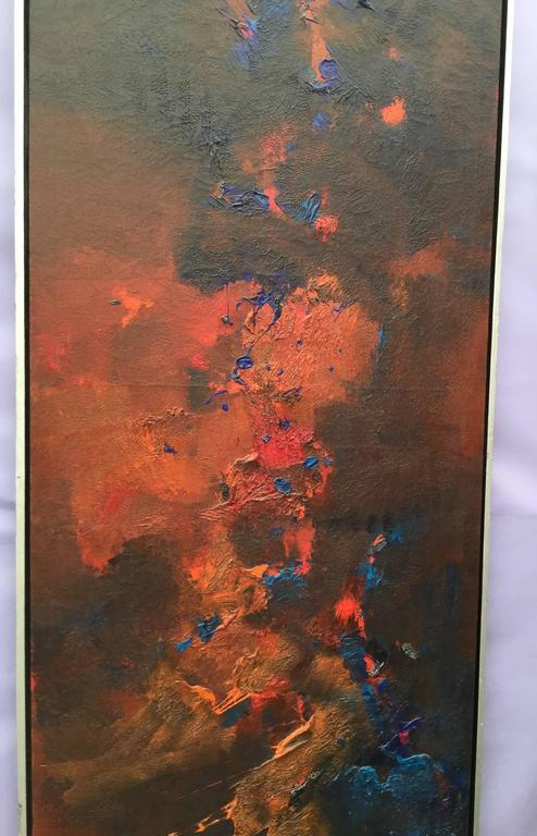Mid-Century Modern Abstract Oil on Canvas Signed R. Roehrenbeck-Saturday Sale For Sale