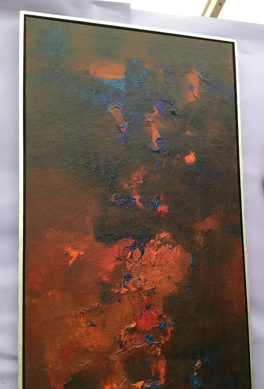 American Abstract Oil on Canvas Signed R. Roehrenbeck-Saturday Sale For Sale