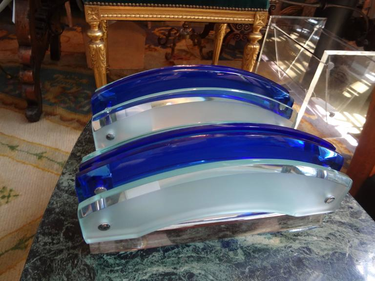 Italian Pair of Murano Blue and Frosted Glass Sconces by Veca For Sale