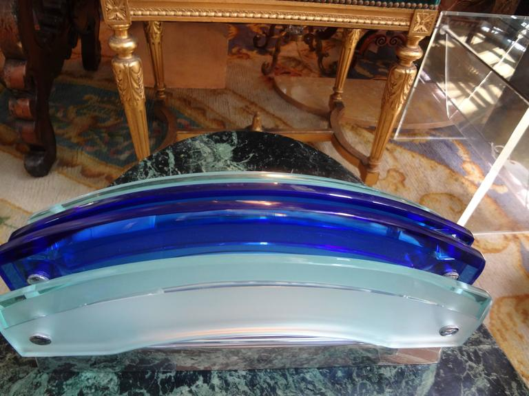 Pair of Murano Blue and Frosted Glass Sconces by Veca In Good Condition For Sale In Houston, TX