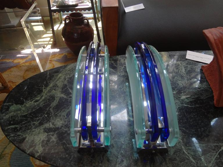Mid-20th Century Pair of Murano Blue and Frosted Glass Sconces by Veca For Sale