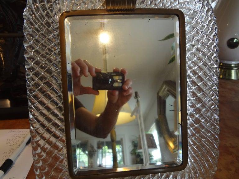 Italian Murano Glass and Bronze Vanity Mirror Attributed to Venini For Sale