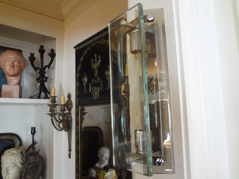 Mid-20th Century Pair of Italian Mid-Century Modern Glass Sconces Inspired by Fontana Arte For Sale