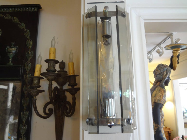 Pair of Italian Mid-Century Modern Glass Sconces Inspired by Fontana Arte For Sale 4