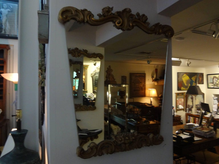 Pair of Italian Serge Roche Inspired Painted and Giltwood Mirrors For Sale 1