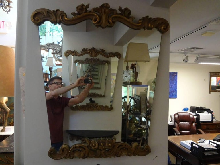 Pair of Italian Serge Roche Inspired Painted and Giltwood Mirrors For Sale 2