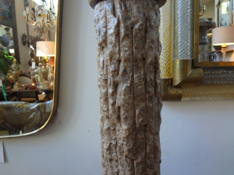 Pair of Midcentury Italian Faux Bois Marble Lamps, Marbro Attributed In Good Condition For Sale In Houston, TX