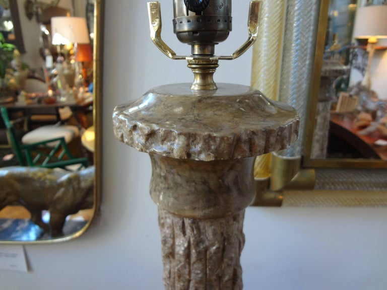 Pair of Midcentury Italian Faux Bois Marble Lamps, Marbro Attributed For Sale 1