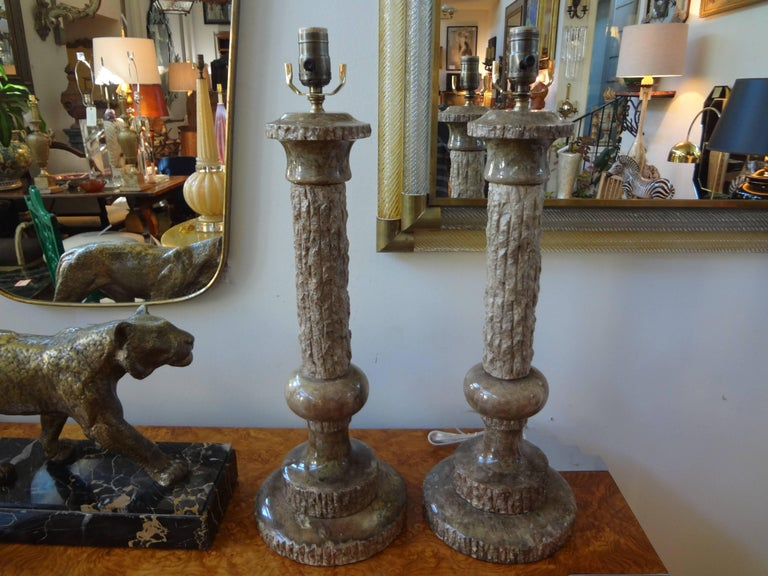 Mid-20th Century Pair of Midcentury Italian Faux Bois Marble Lamps, Marbro Attributed For Sale