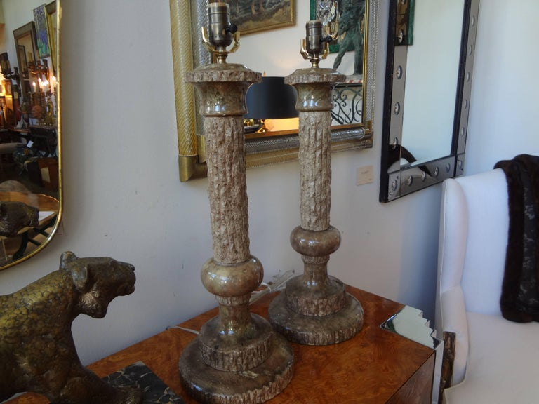 Pair of Midcentury Italian Faux Bois Marble Lamps, Marbro Attributed For Sale 2