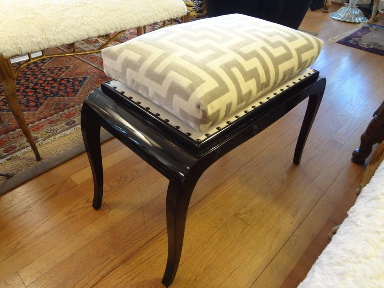 French Art Deco Black Lacquered Bench For Sale 1