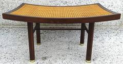 Sleek Modernist 1950's Michael Taylor Mahogany and Cane Bench
