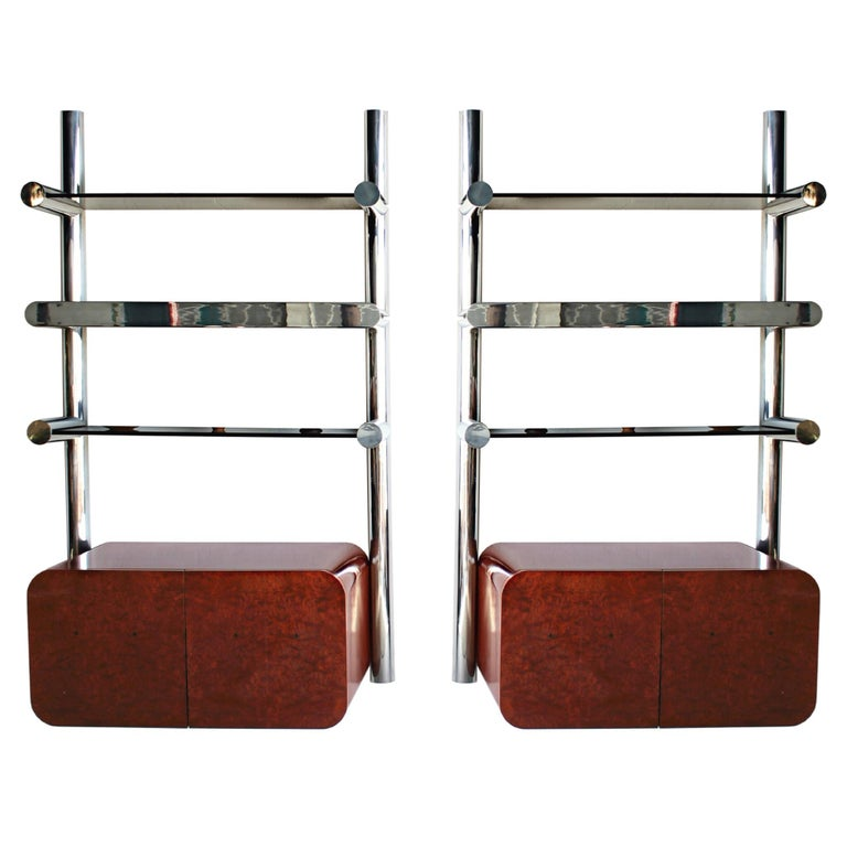 Exceptional Pair of 1970s Pace Collection Wall Mounted Shelves with Cabinets