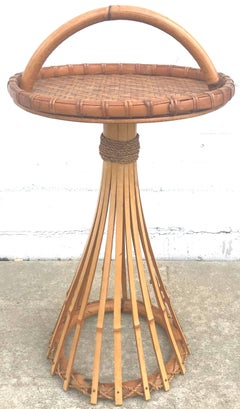 Chic 1950s French Bamboo and Rattan Gueridon Table