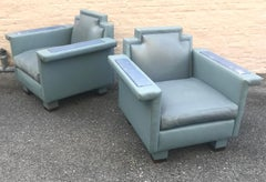 Exceptional Pair of 1980s Ronn Jaffe Post Modern Leather Lounge Chairs
