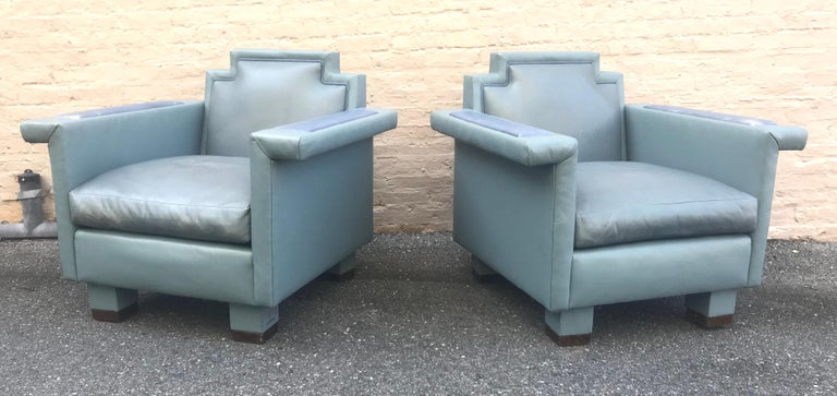 Late 20th Century Exceptional Pair of 1980s Ronn Jaffe Postmodern Leather Lounge Chairs For Sale