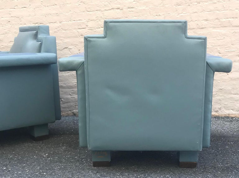 Exceptional Pair of 1980s Ronn Jaffe Postmodern Leather Lounge Chairs For Sale 4
