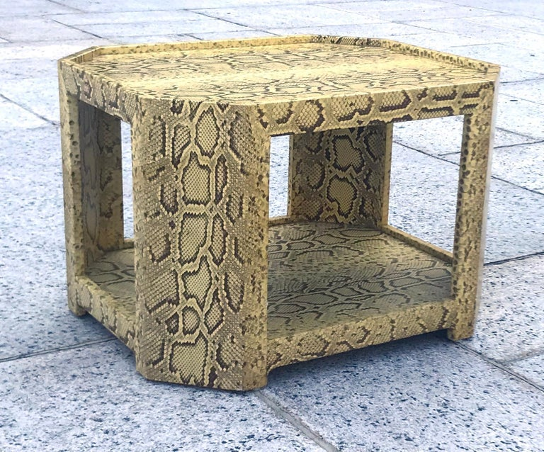 American Exceptional 1970s Karl Springer Python Coveted Cocktail Table For Sale