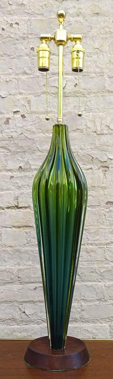Tall 1950s Flavio Poli for Seguso Murano art glass table lamp.