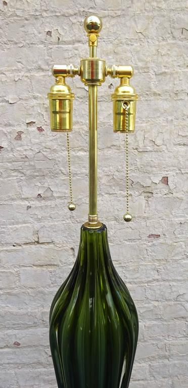 Mid-20th Century Stunning Tall 1950s Flavio Poli for Seguso Murano Art Glass Table Lamp For Sale