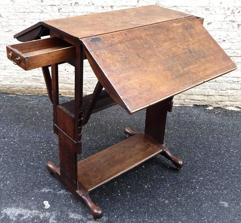 Exceptional Rare Early 18th Century English Walnut Industrial Drafting Table 7