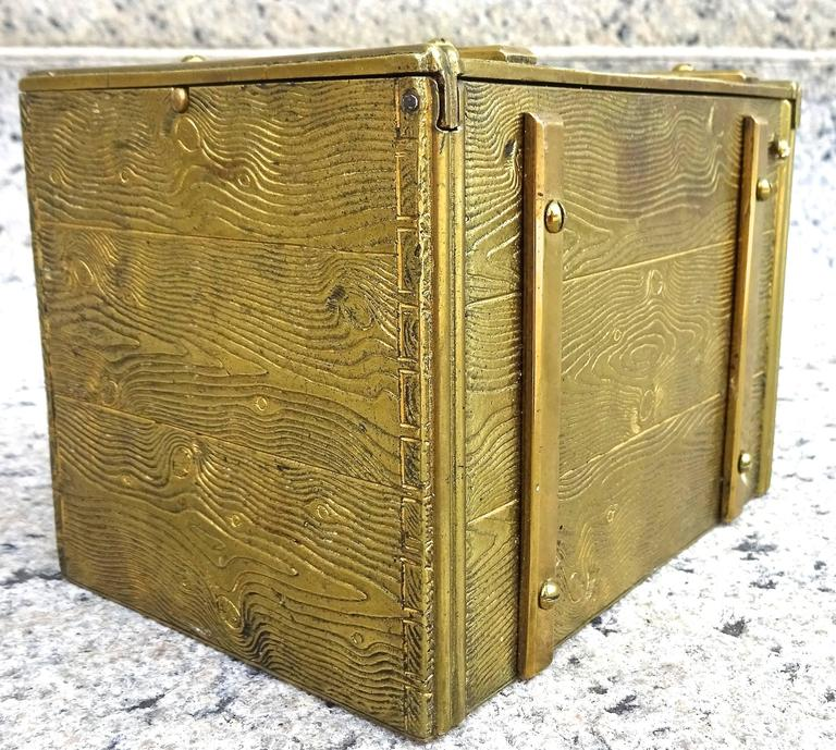 American Unusual 1940s Bronze Faux Bois Box For Sale