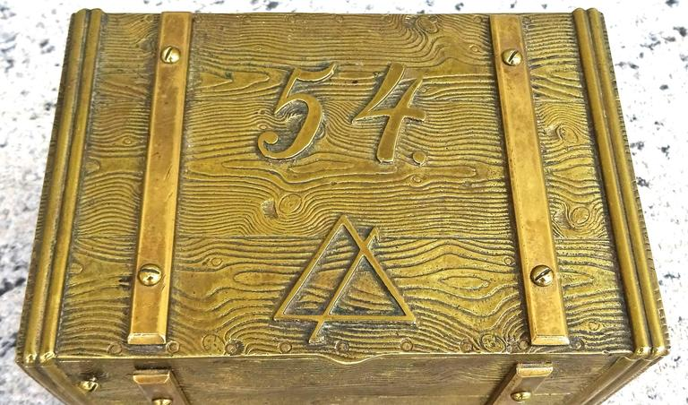 Mid-20th Century Unusual 1940s Bronze Faux Bois Box For Sale