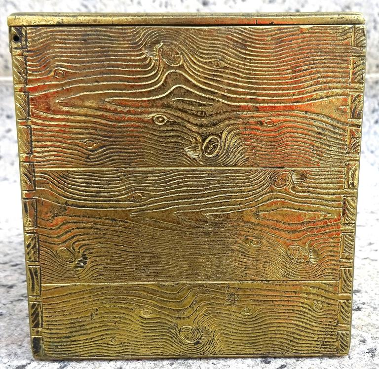 Unusual 1940s Bronze Faux Bois Box For Sale 2