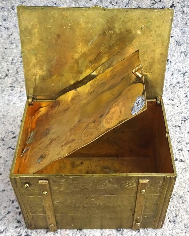 Unusual 1940s Bronze Faux Bois Box For Sale 3