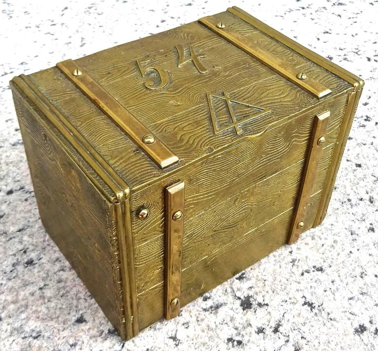 Unusual 1940s bronze faux bois box from a fraternal order or organization.