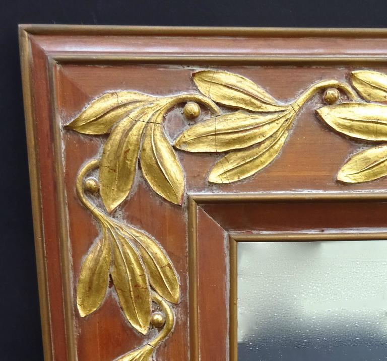 Wonderful large-scale Italian pickled pine mirror with applied gilt Floriform decoration, dating from the late 1940s.