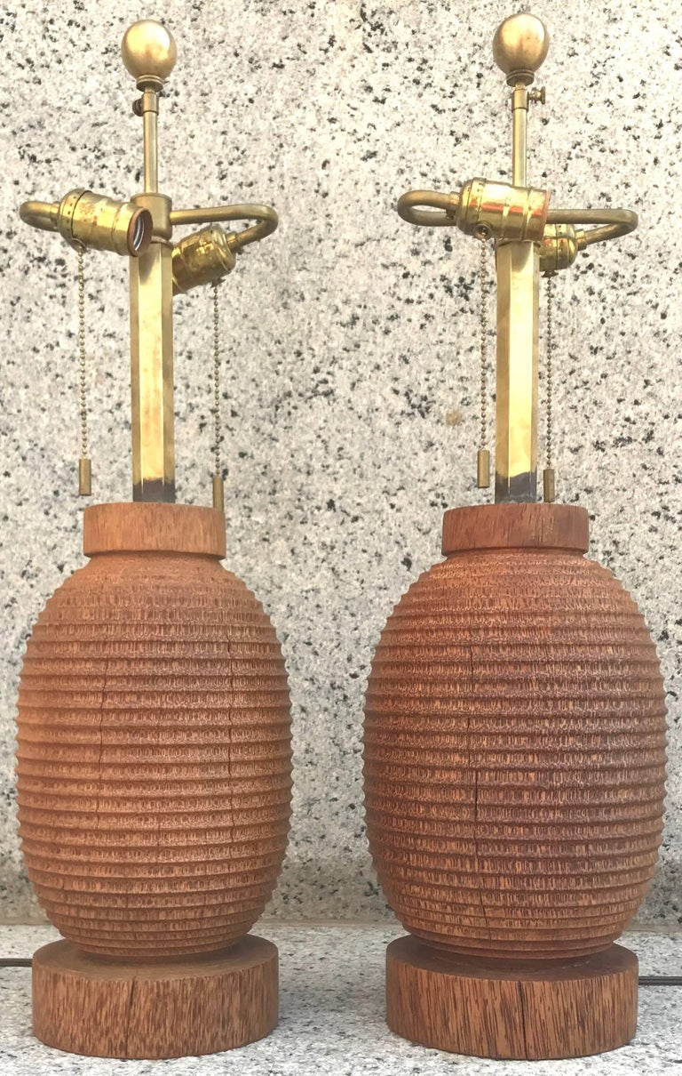 Fabulous pair of Angelo Donghia turned coconut wood table lamps, 1980s.