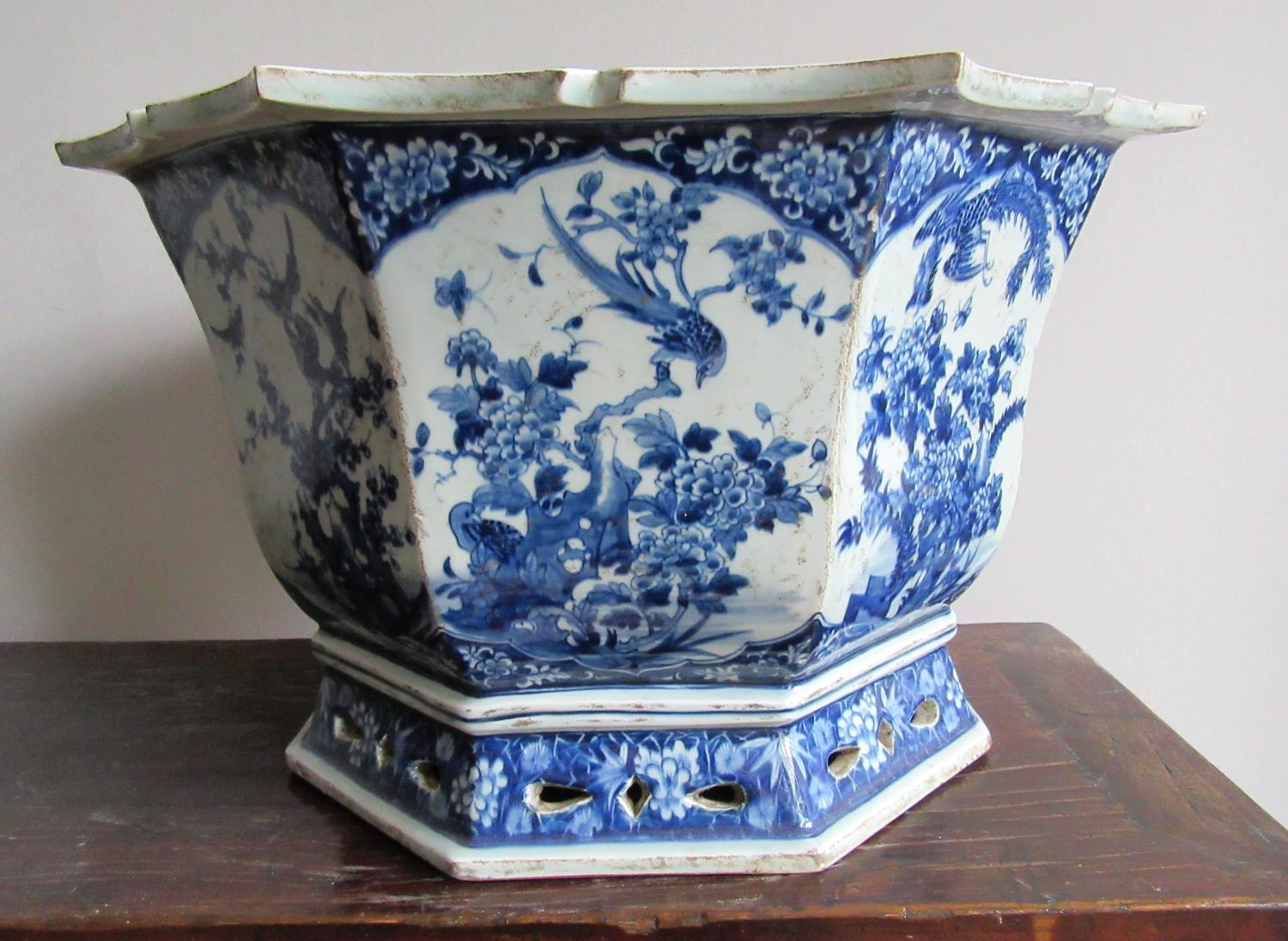 Large Chinese Blue And White Porcelain Jardini 232 Re For Sale At 1stdibs