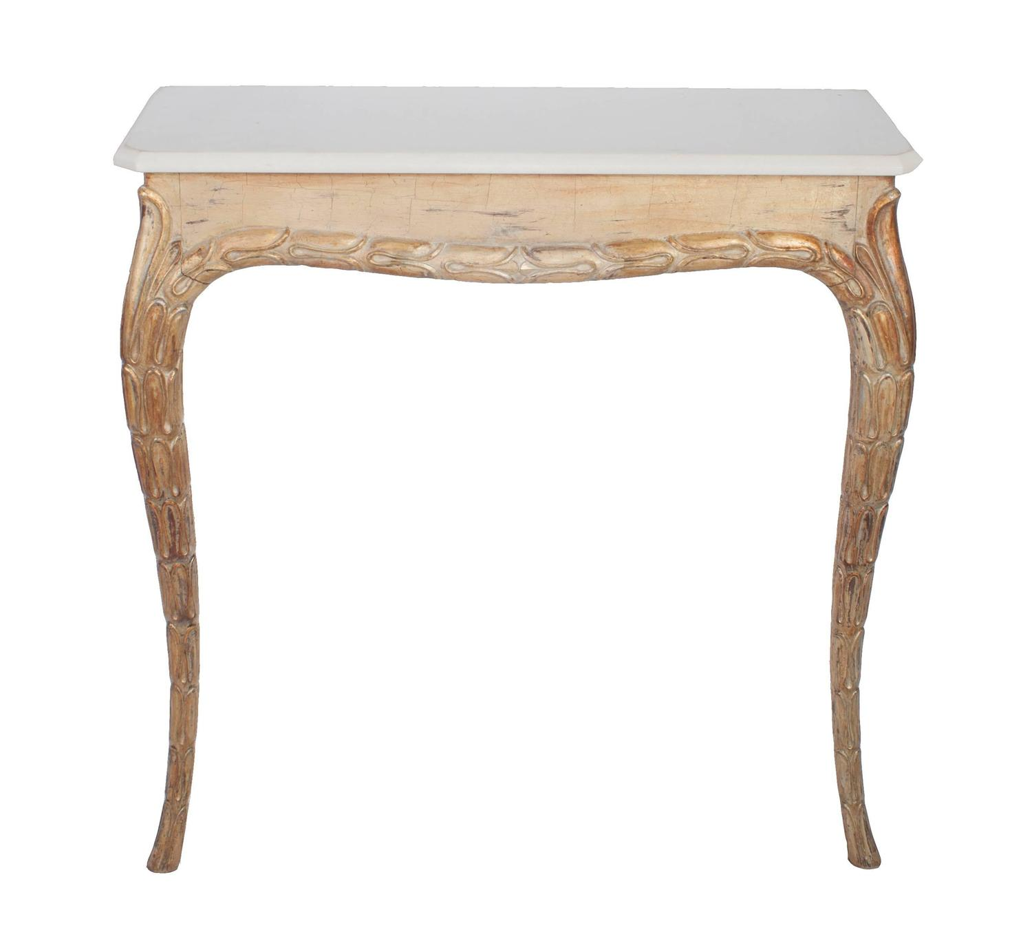 Gilt Console Table With White Marble Top At 1stdibs